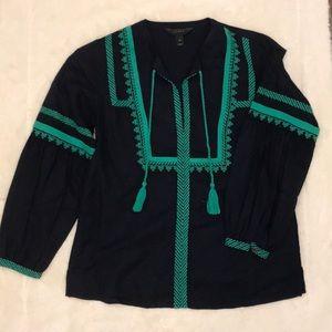 NWOT jcrew 00 Navy Linen boho blouse